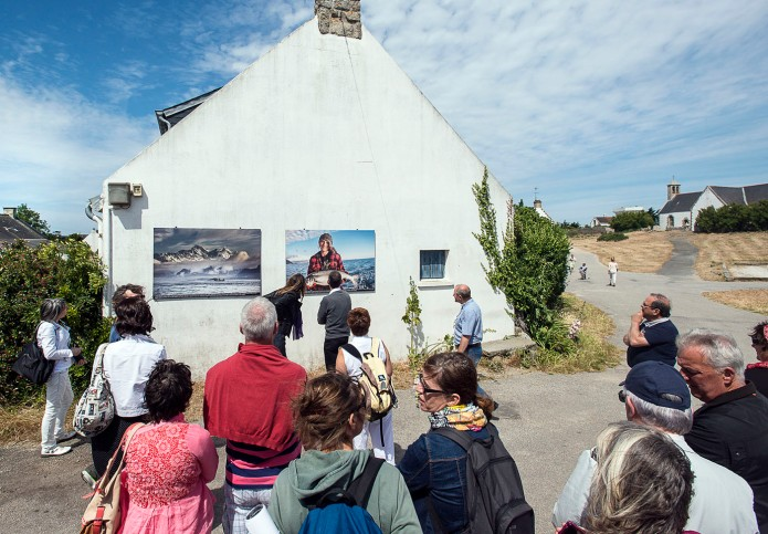 Two photos on display in the village and on the island  of Hoedic.